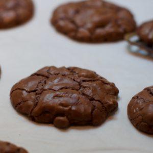 Triple Chocolate Cookies on Bakesheet